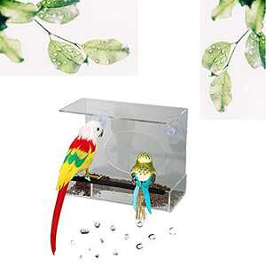 TDOTM Transparent Acrylic Proof Water Window Bird Feeder with 2 Strong Suction Cups,Drain Holes,for Fun Educative Home Bird Watching, Removable Tray for Wild Birds, Finch, Cardinal, Bluebird 006
