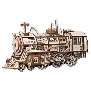 ROBOTIME 3D Assembly Wooden Puzzle Laser-Cut Locomotive Kit Mechanical Gears Toy Brain Teaser Games Best Birthday Gifts for Engineer Husband & Boyfriend & Teen Boys & Adults