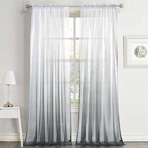 """Dreaming Casa Gradient Ombre Sheer Curtains Draperies Window Treatment Voile for Living Room Kids Room 84 Inches Long Rod Pocket 52"""" W x 84"""" L Grey 2 Panels"""