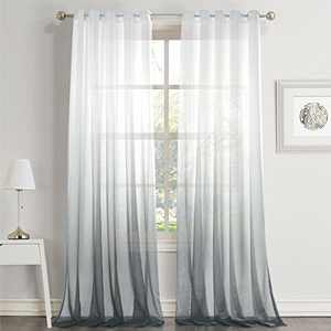 """Dreaming Casa Gradient Ombre Sheer Curtains Draperies Window Treatment Voile for Living Room Kid's Room 63 Inches Long Grommet Top 52"""" W x 63"""" L Grey 2 Panels"""