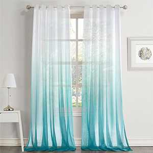 """Dreaming Casa Gradient Ombre Sheer Curtains Draperies Window Treatment Voile for Living Room Kid's Room 84 Inches Long Grommet Top 52"""" W x 84"""" L Blue 2 Panels"""