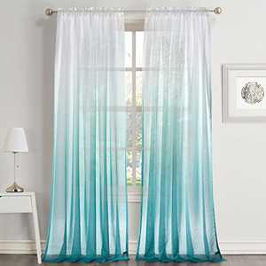 """Dreaming Casa Gradient Ombre Sheer Curtains Draperies Window Treatment Voile for Living Room Kids Room 63 Inches Long Rod Pocket 42"""" W x 63"""" L Blue 2 Panels"""