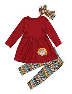 Thanksgiving Day Clothing Sets Kids Baby Girls Long Sleeve Tops Dress+ Turkey Legging Outfit (Wine Red, tag: 90/2-3 T)