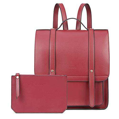 ECOSUSI Laptop Backpack Women Briefcase PU Leather Satchel Backpack for School Messenger Bag Fits up to 14 Inch Laptop with Small Purse, Red