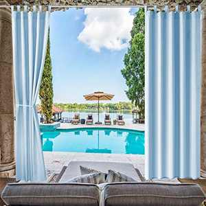 Pro Space Patio Outdoor Curtain Privacy Drape Window Treatment Solid Tab Top Panel for Porch Balcony Pergola Gazebo, 50 Inch Wide by 96 Inch Long, Blue