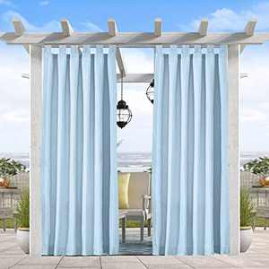"""Pro Space Outdoor Curtains Panel - Privacy Fabric Tab Top Window Curtain for Pergola/ Patio/Balcony - Easily Hang on, 50"""" W x 108"""" L, Blue"""