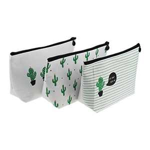 LJY 3 Pieces Assorted Large Capacity Pen Holders Pastoral Floral Cactus Design Multi-Functional Stationery Pencil Pouch Travelling Cosmetic Bags