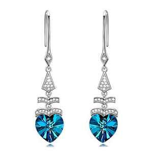 NINASUN Blue Heart Sterling Silver Earrings Crystals Jewelry Mother's Day for Women S925 Drop Dangle Earrings Anniversary for Girlfriend Wife Women