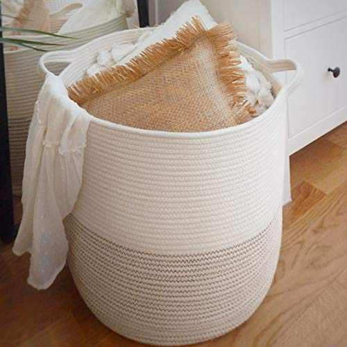 """GooBloo Large Cotton Rope Woven Storage Basket - 18"""" x 16"""" Tall Decorative Cotton Rope Basket for Living Room, Toys or Blankets - Wicker Baskets with Handles - Cute Baby Laundry Hamper"""