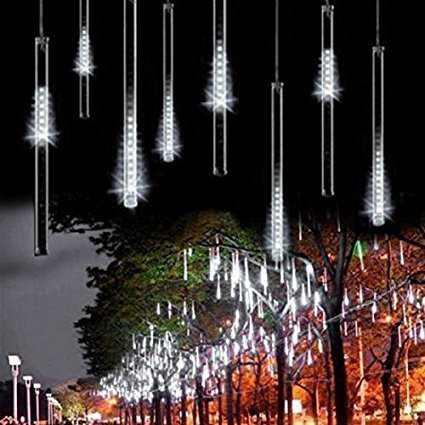 AveyLum LED Falling Rain Lights with 30cm 8 Tube 144 LEDs, Meteor Shower Light, Falling Rain Drop Christmas Lights for Holiday Party Wedding Christmas Tree Decoration (White)…