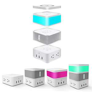 Avatar Controls Combination Bluetooth Speaker Portable, Combined with PUGO Pin Modular Speaker, Power Strip with 4 AC Outlets 3 USB Ports, LED Touch Sensor Light, Wireless Charger