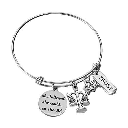 Miss Pink Scales of Justice Lawyer Gifts for Her Stainless Steel Adjustable Wire Bangle Charm Bracelet Law Judge Student Graduation Jewelry