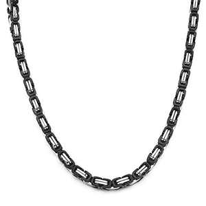 HolyFast 4-8mm Wide 16-36IN Stainless Steel Necklace Byzantine Necklace Black Silver Tone Men Jewelery