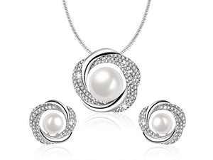 Sheshine Blessing of Love Women Elegant Pearl Pendant Necklace Earrings Set Jewelry Set,Crystal from Swarovski
