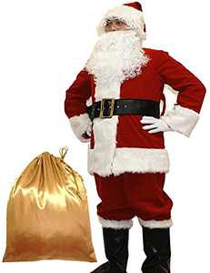 Potalay Men's Deluxe Santa Suit 10pc. Christmas Adult Santa Claus Costume (Small)