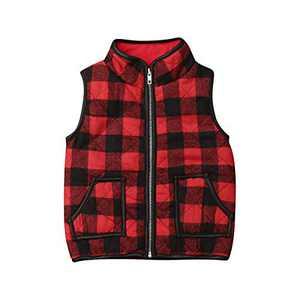 Toddler Baby Girls Vest Outwear Jacket Sleeveless Waistcoat Warm Winter Coats (Plaid, 4-5T)