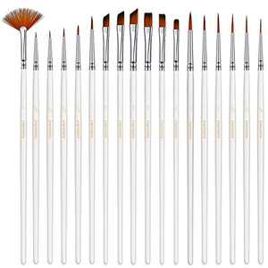 PANDAFLY 18 Pieces Fine Detail Paint Brush Miniature Painting Brushes Kit for Fine Detailing & Art Painting, Acrylic, Watercolor, Oil, Scale Model, Face, Nail, Airplane Kits, Rock Painting