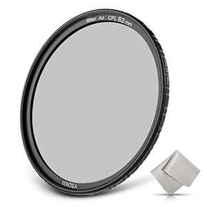 YSDIGI Ultra-Slim 62mm Circular Polarizer Filter, CPL Filter with Lens Cloth, Multi-Coated, High Definition Schott B270 Glass, Nano Coatings, HD CPL Filter for Outdoor Photography.