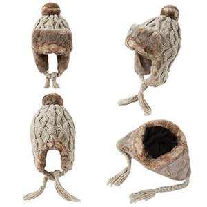 OMECHY Womens Knit Peruvian Beanie Hat Winter Warm Wool Crochet Tassel Peru Ski Hat Cap with Earflap Pom Beige