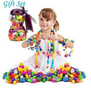 HANMUN 6635 Snap Pop Beads Girls Toy, 252Piece DIY Jewelry Making Kit Necklace Ring Bracelet Arts Crafts Gifts for 3, 4, 5, 6, 7, 8 Year Old Kids Girls, Multicolor