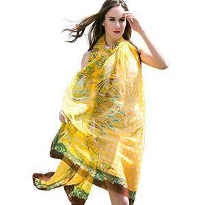 DANA XU 100% Pure Silk Large Size Pashmina Women Scarf (Yello)