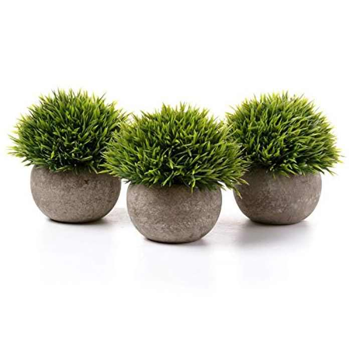 T4U Plastic Artificial Plants Potted Green Plants Multi-layer Grass for Home/Office Decor Pack of 3