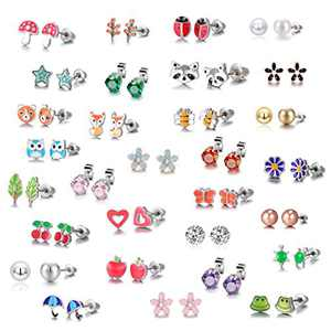 30 Pairs Stainless Steel Mixed Color Cute Animals Fox Heart Star Ladybug Bee Frog Mushroom Tree Daisy Umbrella Rose Gold White Pearl CZ Jewelry Stud Earrings Set (animal tree pearl)