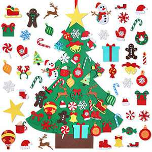 Garma DIY Felt Christmas Tree Set with 41 Ornaments, Christmas Felt Craft Kits Xmas Wall Hanging Decorations for Kids Toddler Gifts Party Supplies