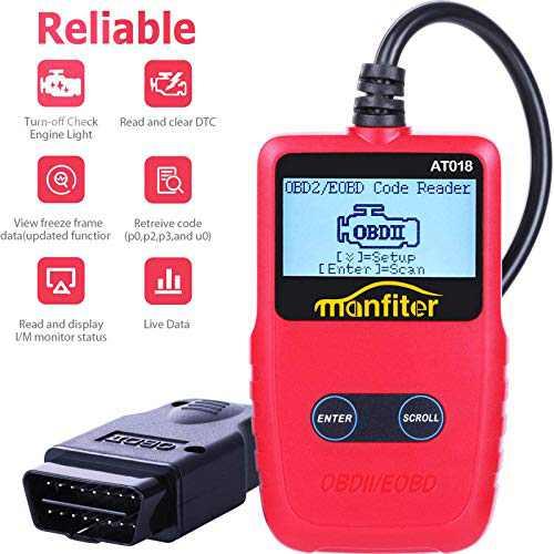 Manfiter OBD2 Scanner OBD2 Reader Turn Off Check Engine Light View Freeze Frame Data I/M Readiness Smog Check CAN OBD II Diagnostic Tool Fault Code Reader OBD 2 Scan Tool for Car Automobile Vehicle