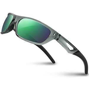 RIVBOS Polarized Mens Sunglasses Fashion UV Protection Sports Driving Baseball Golf Fishing RB831-Transparent Grey