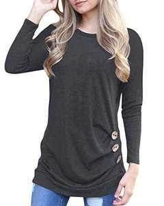 Aliex Women's Tunic Top Long Sleeve Casual Blouse T-Shirt Button Decor Grey XL