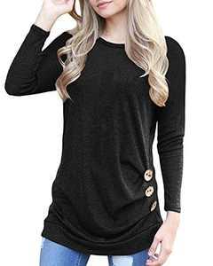 Aliex Women's Tunic Top Long Sleeve Casual Blouse T-Shirt Button Decor Black XL
