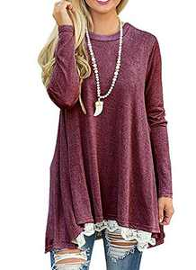 Rdfmy Women's Lace Long Sleeve Tops Casual Round Neck Top Blouses Red XXL