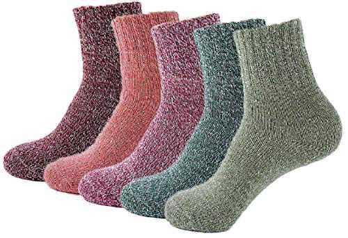 Macohoi Womens Retro Warm Athletics Ankle Socks for Women Plats Thick Novelty Christmas Cotton Knitting Wool Warm Winter Fall Crew Socks Winter Autumn Spring Soft Fuzzy Slipper Home Socks -B