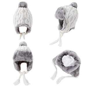 OMECHY Womens Knit Peruvian Beanie Hat Winter Warm Wool Crochet Tassel Peru Ski Hat Cap with Earflap Pom White