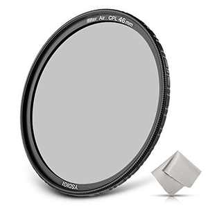 46mm Circular Polarizer Filter, YSDIGI CPL Protection Lens Filter with Lens Cloth, Multi-Coated, High Definition Schott B270 Glass, Nano Coatings, Ultra-Slim, HD CPL Filter for Outdoor Photography.