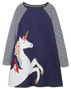 Fiream Girls Cotton Casual Longsleeve Stripe Applique Dresses(Navy,3T/3-4YRS)