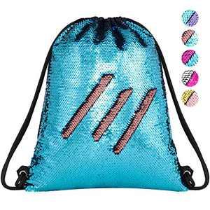 Segorts Unicorn Mermaid Sequin Drawstring Bags Reversible Sequins Dance Bag Gym Backpacks for Girls Kids