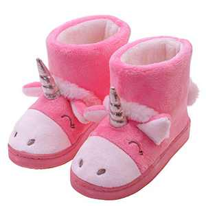 Little Girl Slippers Anti-Slip House Shoes Slippers with Memory Foam and Hard Sole Size Toddler 9 US Pink Unicorn