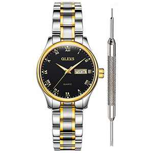 OLEVS Black Watches for Women on Sale Clearance Black Watches Women Waterproof with Date Stainless Steel Wrist Watch Fine Classic Roman Numeral Watches