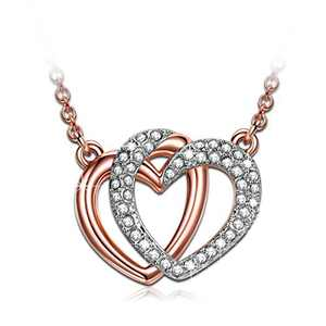 J.NINA Rose Gold Plated Heart Necklaces for Women White Gold Plated Necklace Crystal Necklace for Women Jewelry for Women Gifts for Her Birthday Gifts for Best Friend Mom Grandma
