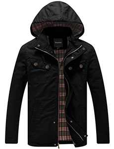 Wantdo Men's Warm Cotton Twill Casual Military Jacket with Removable Hood (Black, L)