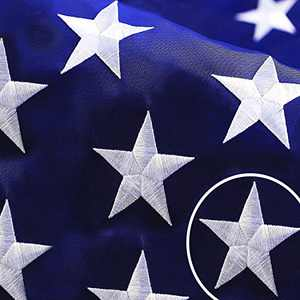 G128 - American USA US Flag 8x12 ft Deluxe Embroidered Stars Sewn Stripes Brass Grommets Durable Indoor Outdoor Use