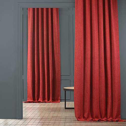 HPD Half Price Drapes BOCH-LN1851-108 Faux Linen Blackout Room Darkening Curtain (1 Panel), 50 X 108, Cardinal