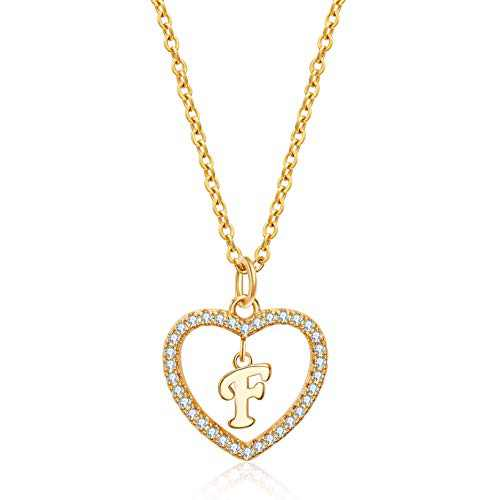 Initial Heart Necklace for Women 14K Real Gold Plated CZ Heart Letter F Name Alphabet Pendant Necklace ove Necklace Woman Jewelry
