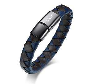 VNOX Leather Bracelet The Legend of Zelda/Cross/Horus/Ankh/David Star/Dad/OM/Viking/Satan Symbol Bracelet Classic Braided Leather Cuff Bracelet Stainless Steel Magnet Clasp