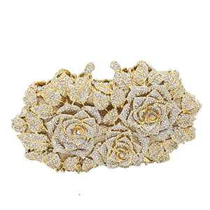 Dazzling Flower Evening Bags For Women Formal Party RhinestoneHandbags Cocktail Wedding Crystal Clutch Purses (Gold & Silver)