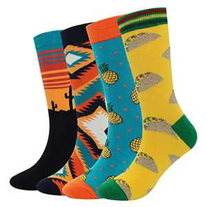 Men's Cool Colorful Casual Socks - Novelty Funny Casual Combed Cotton Crew Dress Socks Gift Pack(Tsocks-4Pairs-pineapple)