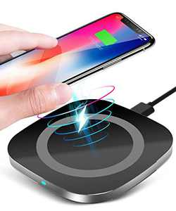 OCYCLONE Qi Wireless Charger, Wireless Charging Pad for iPhone 11/11 Pro/ 11 Pro Max/XS MAX/XR/XS/X/ 8 Plus/ 8 and Samsung Galaxy S20/ Note 10/ S10/ S9 Plus/ S9 and AirPods Pro - Black