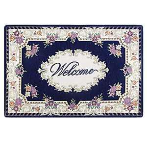 GRECUTE DNRTH-5080-B Front Doormat Welcome Scraper Entrance Indoor/Outdoor Mat, Collection Rectangular Welcome Bordered Doormat, 18''x30''- Blue